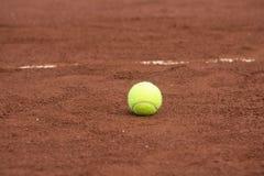 Groene tennisbal op het hof Stock Foto