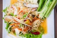 Groene Thaise de keuken kruidige heerlijk van de papajasalade Stock Afbeelding