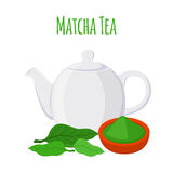 Groene thee - Aziatische drank Theepot, bladeren van matchathee, waterketel Stock Foto's