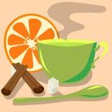 Groene thee in een groene mok met pijpjes kaneel, royalty-vrije illustratie