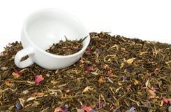 Groene thee en kop Royalty-vrije Stock Foto's