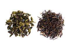 Groene thee en zwarte thee stock afbeelding