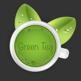 Groene thee, Groen theeblad Stock Foto's