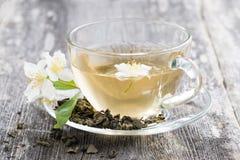 Groene thee met jasmijn, close-up Stock Fotografie