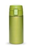Groene thermosflesseninzameling die op witte achtergrond wordt geïsoleerd Royalty-vrije Stock Afbeelding