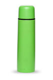 Groene thermosflesseninzameling die op witte achtergrond wordt geïsoleerd Royalty-vrije Stock Foto's