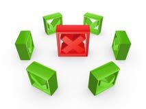 Groene tiktekens rond rood kruisteken. Royalty-vrije Stock Foto's