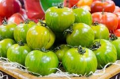 Groene tomaten op een vertoning Royalty-vrije Stock Foto
