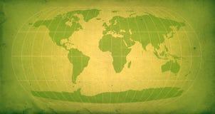 Groene uitstekende wereldkaart Stock Afbeelding
