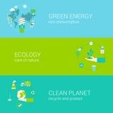 Groene van de eco schone planeet van de energieecologie vlakke geplaatste het Webbanners Stock Fotografie
