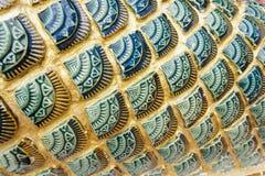 Groene van draakschalen textuur als achtergrond. Stock Fotografie