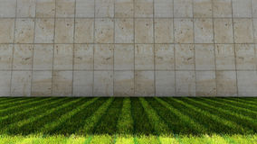 Groene van Grasvloer en Grunge Tegels op Achtergrond Stock Fotografie