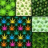 Groene van het de marihuanablad marihuana van het achtergrond vectorillustratie naadloze patroon het kruid verdovende textiel stock illustratie