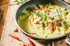 Groene varkensvleesKerrie, Thaise keuken Stock Foto
