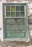 Groene Venster Witte Muur Stock Afbeelding