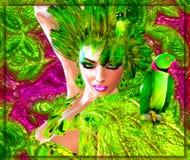 Groene Veren Galore! Papegaaien, Mensen en het Stellen Royalty-vrije Stock Fotografie