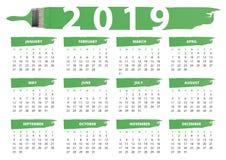Groene verf en borstelskalender 2019 stock illustratie