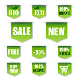 Groene Verkoop, Bio, Organisch Etiket Stock Afbeeldingen