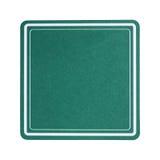 groene vierkante die document onderlegger voor glazen op wit wordt geïsoleerd Stock Foto