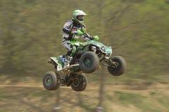 Groene vierlingracerin springt Stock Foto