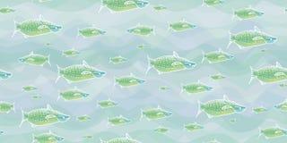 Groene vissen in blauwe vectorillustratie royalty-vrije illustratie