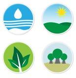 Groene vlakke pictogrammen Royalty-vrije Stock Foto