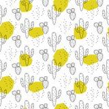 Groene vlekken die van de cactus de eenvoudige lijn stijl vectorpatroon kleuren vector illustratie