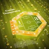 Groene voetbalachtergrond met het gebied van het scorebordspel Royalty-vrije Stock Foto