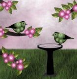 Groene Vogels, Roze Achtergrond royalty-vrije stock afbeeldingen