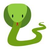 Groene vriendschappelijke cobraslang in vlakke stijl, vector royalty-vrije illustratie