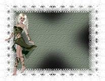 Groene Vrouw met Geweven Achtergrond Stock Fotografie