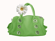 Groene vrouwelijke zak met bloem Stock Afbeeldingen