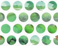 Groene waterverf horizontale die illustratie, korrelig, groot, op het patroon van de cirkelvorm wordt gebaseerd Getrokken hand, g Stock Foto's