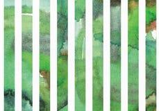 Groene waterverf horizontale die illustratie, korrelig, groot, op het patroon van de streepvorm wordt gebaseerd Getrokken hand, g Royalty-vrije Stock Fotografie