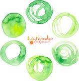 Groene waterverf vectorcirkels Royalty-vrije Stock Foto