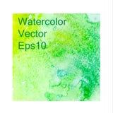 Groene waterverfachtergrond, textuur, malplaatje Vector illustratie stock illustratie