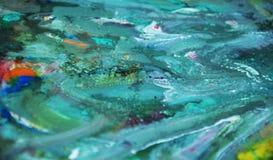Groene waterverfverf, zachte mengelingskleuren, het schilderen vlekkenachtergrond, waterverf kleurrijke abstracte achtergrond Stock Fotografie
