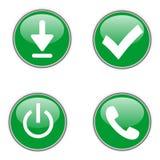 Groene Webpictogrammen Stock Afbeelding