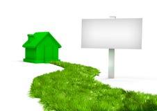 Groene weg aan een nieuw huis Royalty-vrije Stock Afbeeldingen