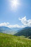 Groene weide in de bergen Stock Afbeeldingen