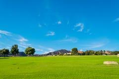Groene weide en blauwe hemel in Centraal Californië stock foto's