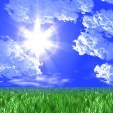 Groene weide en de zon in de donkerblauwe hemel Royalty-vrije Stock Afbeeldingen