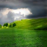 Groene weide en onweerswolk Stock Afbeelding