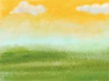 Groene weide met gele hemel en wolken vector illustratie