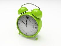 Groene wekker die op witte 3D achtergrond wordt geïsoleerd Stock Afbeeldingen