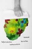 Groene wereld Geschilderde die bloemen door een kindhand aan het licht worden gebracht Stock Foto's