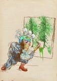 Groene wereld - monster van globalisering royalty-vrije illustratie