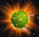 Groene wereld in ruimte stock afbeeldingen