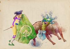 Groene wereld - stieregevecht Stock Afbeelding