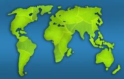 Groene wereldkaart Royalty-vrije Stock Afbeeldingen